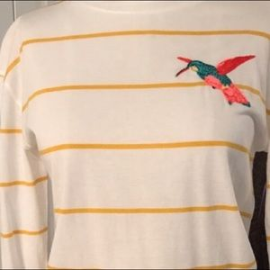 Who What Wear Hummingbird Striped LS Shirt Large